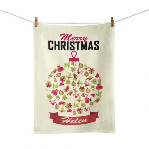 Personalised Merry Christmas Bauble Tea Towel - Vintage Design